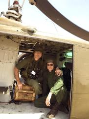 In the Huey with Maurizio Lombardi.